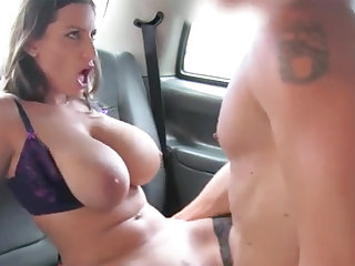 Brunette with big naturals gets banged in the backseat