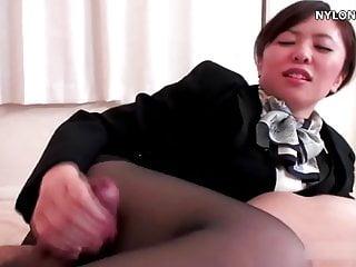 nylon stockings attendant pantyhose footjob