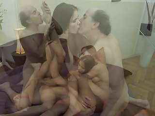Ugly Grandpa vs Beautiful Young Girls in hardcore threesome