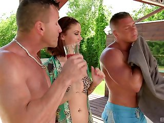 Madlin gets loads of cum on her pretty face in a MMF threesome