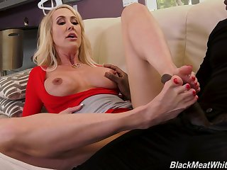 MILF blonde in high heels Brandi Love rides a big black dick hardcore