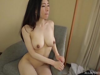 Japanese bombshell in a bra Ninomiya Waka bends over for a fuck