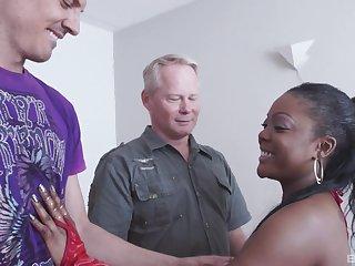 Hardcore interracial MMF threesome with ebony Raylene getting stuffed
