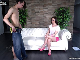 Cum in mouth for mature experienced slut Wendy Moon wearing glasses
