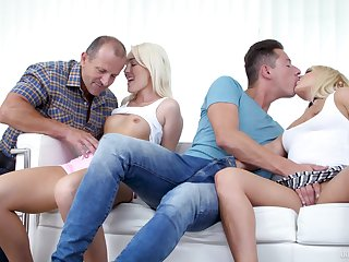 Lovita Fate and Amber Deen love the taste of cum after a foursome