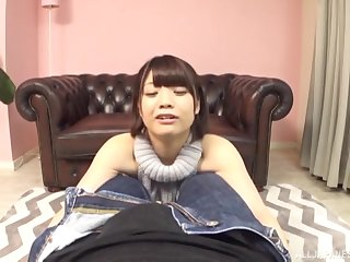 Short haired Japanese Hinagiku Tsubasa gets on her knees to suck cock