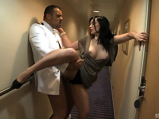 Brunette MILF in high heels Angel Summer loves to swallow warm cum