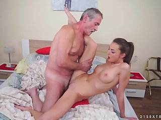 Teen brunette Katy Rose gets a hardcore fuck from an older guy