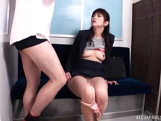 Hardcore Japanese pussy fingering and fucking in public