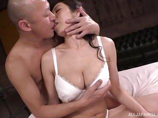 Brunette Japanese MILF Kuwata Minori bent over and fucked hard