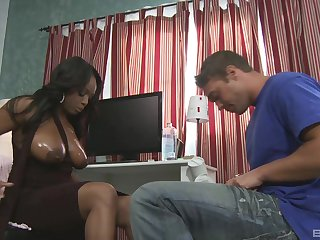 huge ebony tits of a buxom MILF babe Jada Fire get cum covered