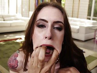 Kinky Inked Redhead Slut face fucked plus deepthroated almost cumshot