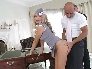 horny blonde Sveta wants to fuck anent two friends in be passed on lux office