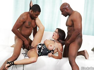 Crazy threesome for the busty milf with a handful of jet-black thugs