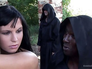 Some horny monks cause to adhere all in one's birthday suit Renata to be transferred to tree outdoors