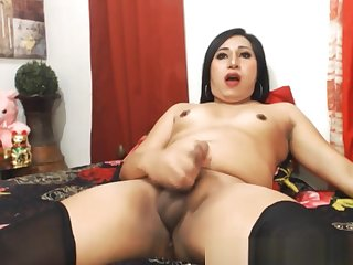 Exotic Shemale Jerking On Cam