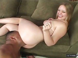 Lewd pallid chick with nice curves gets her pussy fingerfucked well