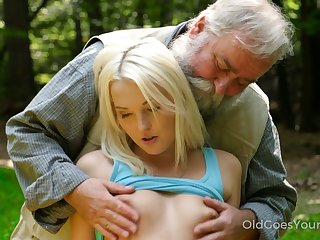 Slender blonde bitch is fucked doggy hard near the tent increased unconnected with by venerable pervert