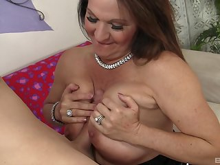 Older woman Laylani Wood near saggy tits rides a huge outside of