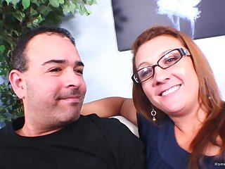 Mature redhead wife with glasses gheating her husband with  her lover