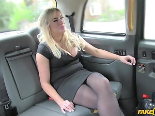 Amateur strips for cock in the matter of her first fake taxi tryout