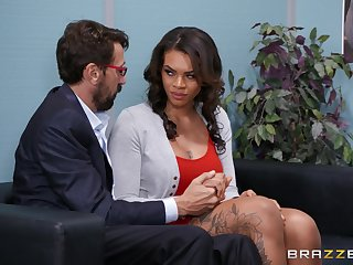 Obese arse ebony Halle Hayes fucked wits a white dick in the office