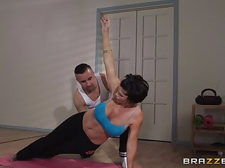 Mature woman Shay Satan does yoga and gets fucked in say no to asshole