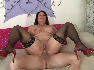 Several meaty inches stuffed inside mature Laylani Wood's aged cunt