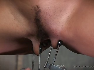 Horny submissive bird gets vicious weighted clamps on her pussy chops