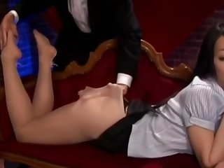 Asian Babe Fancy Pantyhose Footjob