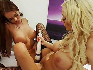 Sharming Paige Ashley enjoys having lesbo sex with Stacey Saran