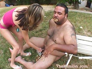 Outdoors bonking between a fat guy and slutty Sammi Cruz. HD