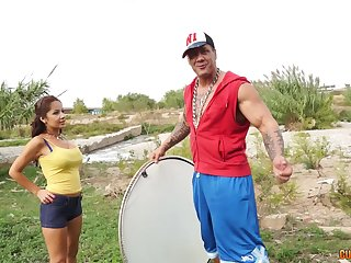 Loose outdoors fucking standing b continuously a muscular guy together with an amateur skirt