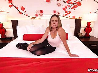 Skinny brunette milf all over saggy tits, Judith, is riding a immutable white cock for a camera