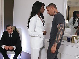 Classy black girl Ana Foxxx is watched while fucking a washed out man