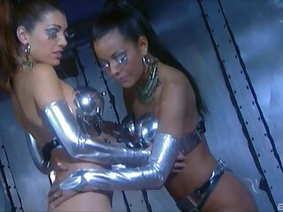 Trimmed pussy models Adriana Sage and Felecia Danay have queer sex