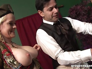 Costumed babes Chloe Delaure and Lydie Lust share dick in a threesome
