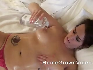Chubby oiled up amateur babe bends over to receive cock