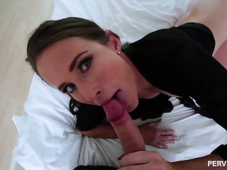 Freckled face MILF Sofie Marie gets a cumshot on perky small tits