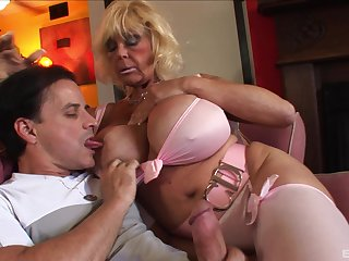 Mature busty blonde Shelly pounded hardcore doggy style