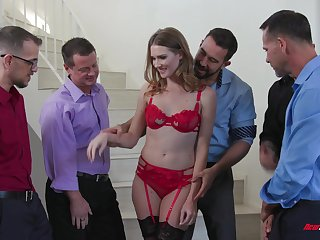 Gagging whore Ashley Lane gangbanged and covered with cumshots