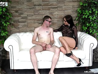 Pussy spreading and cock riding with Wendy Moon on the casting couch