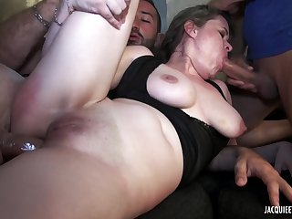 French Porn Movie - Gang-copulate de Justine une pulchritude mature - big hooters