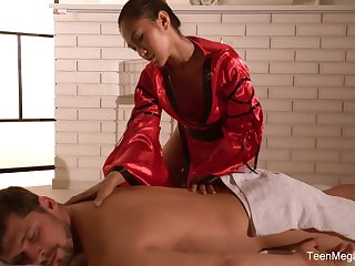Traditional Thai massage by sexually charged masseuse with stunning body May Thai