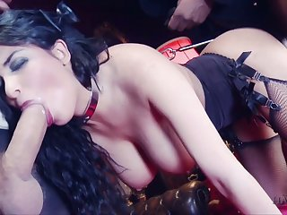 Sexy French damsel in unchangeable Anissa Kate tries to cope with three massive dongs