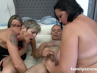 A gang be useful to ultra-kinky grandmas and 2 insatiable dudes are having gang fucky-fucky in the bedroom