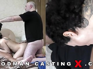 Supreme looking, Russian black-haired approximately huge, rigid boobies went up a porno blear audition up have joy