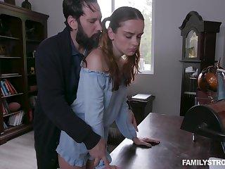 Begrudging stepdad spanks and fucks pretty ginger stepdaughter Lily Glee