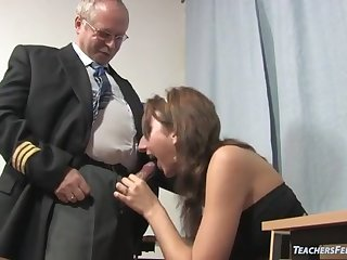 Trciky old teacher fucks petite college girl in the class